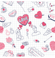 Valentine doodles seamless pattern vector image