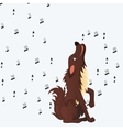 Cute fluffy cartoon dog howling vector image