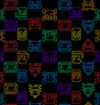 Computer game graphic seamless pattern on a black vector image