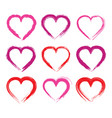 collection grunge textured heart shape frame vector image