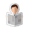 man reading newspaper icon vector image