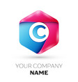 Realistic letter c in colorful hexagonal vector image