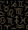 zodiac signs seamless pattern horoscope golden vector image