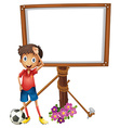 Board design with soccer player vector image