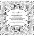 mohochrome floral template with place for text vector image