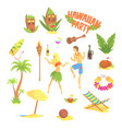Hawaiian party set hawaii symbols vector image