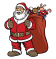 santa claus bring a bag full of gift vector image