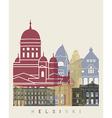 Helsinki skyline poster vector image