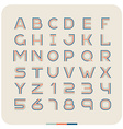 Outline retro vintage font Latin letters with vector image