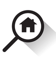 magnifying glass with Home icon vector image