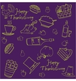 Thanksgiving doodles on purple backgrounds vector image