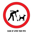 Clean up after your pet dog sign vector image