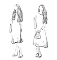 Fashion girl sketch Hand drawn model vector image