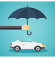 Hand with an umbrella that protects the car vector image