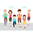 happy family running together for good health vector image
