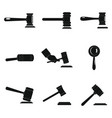 judge hammer icons set simple style vector image