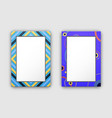 photo frames with blue border and abstract figures vector image