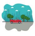 red cabriolet car vector image