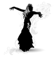 Silhouette belly dancer 1 vector image