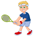 funny boy cartoon playing tennis vector image