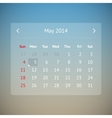 Calendar page for May 2014 vector image