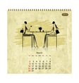 Girls retro calendar 2014 for your design vector image