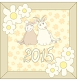 Retro card with cartoon sheep and goat for vector image