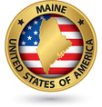Maine state gold label with state map vector image vector image