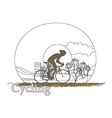 Cycling man silhouette doodle Poster vector image