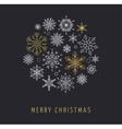 Snowlakes geometric Christmas circle background vector image