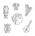 Art and musical instruments sketches vector image vector image