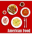 American dinner with grilled meat and chilli icon vector image