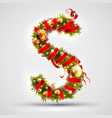 christmas font letter s of christmas tree vector image