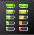 Glossy battery icons with different charge level vector image