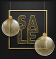 winter sale typographic with glass balls vector image