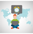 online training education-student clock alarm vector image