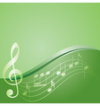 green background - curved music notes vector image