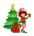 Christmas theme with tree and elf vector image