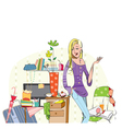 Young careless girl in her messy room vector image