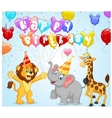 Birthday background with happy animals vector image