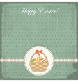 easter card in vintage style - basket of easter eg vector image vector image
