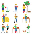 farmers characters set working at farm gardening vector image