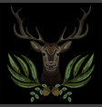 forest deer face with geen wreath vector image