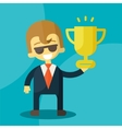 Young businessman lifts trophy vector image