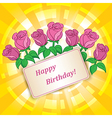 roses for birthday with yellow background vector image