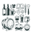 Collection retro icons of beer isolated on white vector image