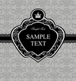 Vintage gray damask background with black frame vector image