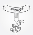 Sausage menu doodle drawn background vintage vector image vector image
