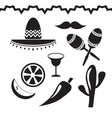 Mexico icons set on white background vector image vector image