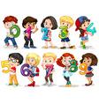 Children holding number zero to nine vector image